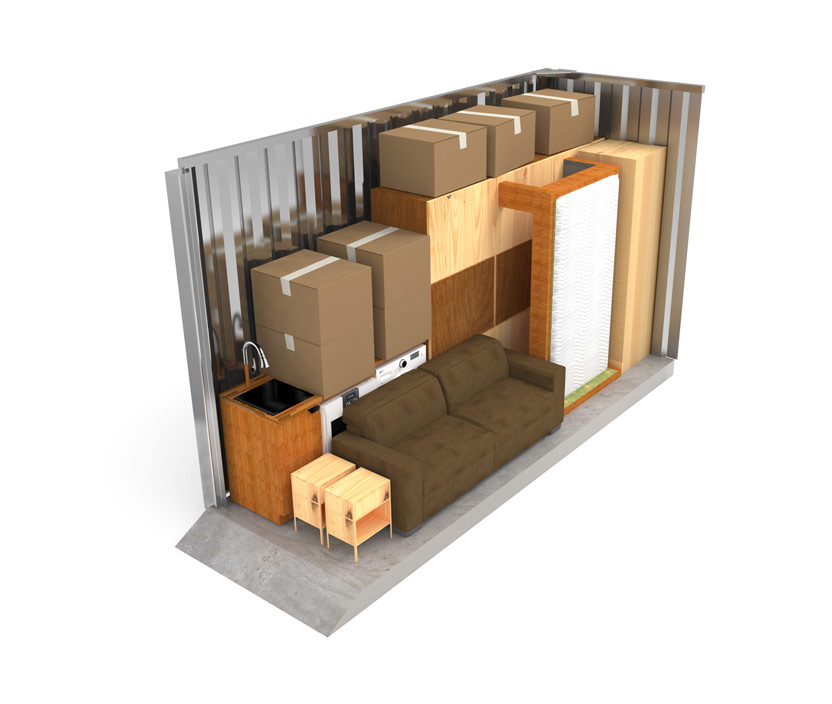 how big is a 5x15 storage unit illustrated by displaying 2.5 rooms within the storage unit